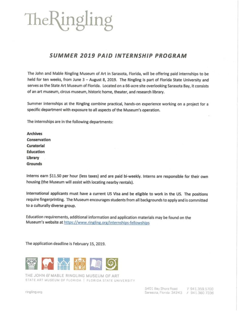 Summer 2019 Paid Internship at The Ringling Museum of Art